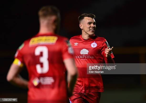 Dublin , Ireland - 9 April 2021; Dayle Rooney of Shelbourne celebrates with team-mate Kevin O'Connor after Wexford's Conor Crowley scored an own goal...