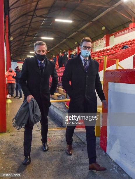 Dublin , Ireland - 9 April 2021; FAI Chief Executive Jonathan Hill, left, and Shelbourne CEO Dave O'Connor prior to the SSE Airtricity League First...