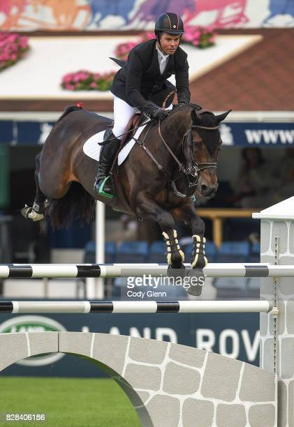 Dublin Ireland 9 August 2017 Cian O'Connor of Ireland competes on Good Luck during The Speed Stakes at the Dublin Horse Show at the RDS in...
