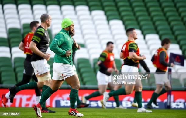 Dublin Ireland 9 February 2018 Bundee Aki during the Ireland Rugby Captain's Run at the Aviva Stadium in Dublin