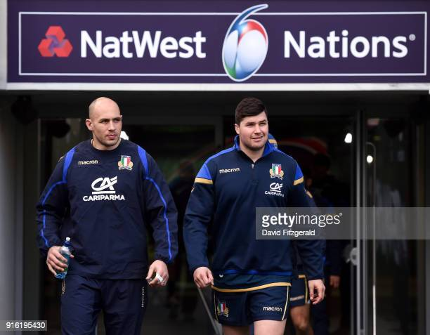 Dublin Ireland 9 February 2018 Captain Sergio Parisse left and Sebastian Negri walk out prior to the Italy Rugby Captain's Run at the Aviva Stadium...