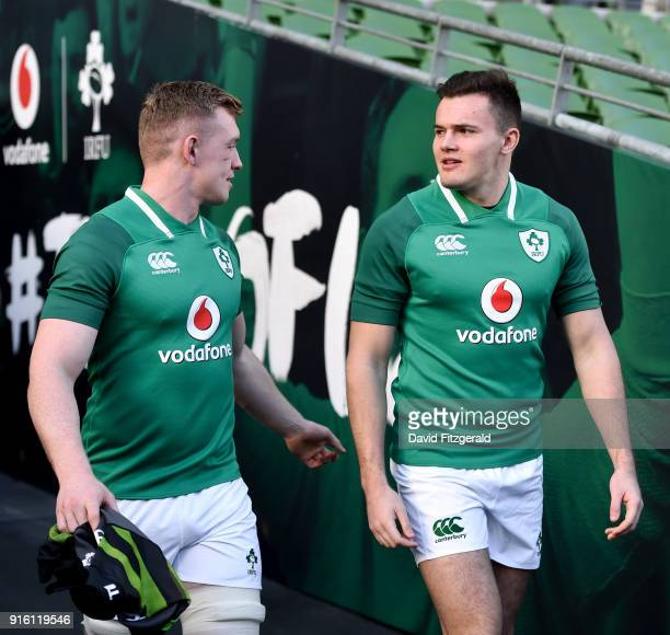 Dublin Ireland 9 February 2018 Dan Leavy left and Jacob Stockdale walk out prior to the Ireland Rugby Captain's Run at the Aviva Stadium in Dublin