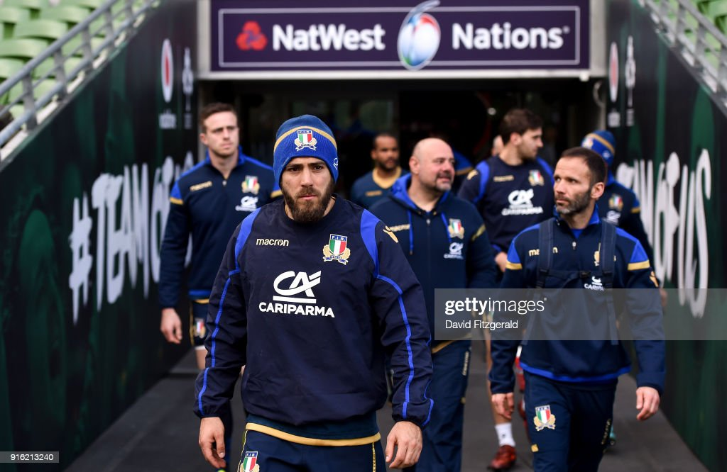 Dublin , Ireland - 9 February 2018; Edoardo Gori walks out prior to the Italy Rugby Captain's Run at the Aviva Stadium in Dublin.