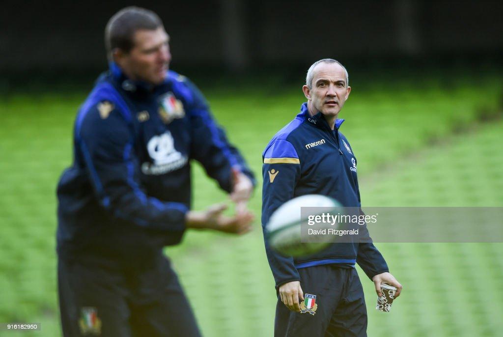 Dublin , Ireland - 9 February 2018; Head coach Conor O'Shea during the Italy Rugby Captain's Run at the Aviva Stadium in Dublin.