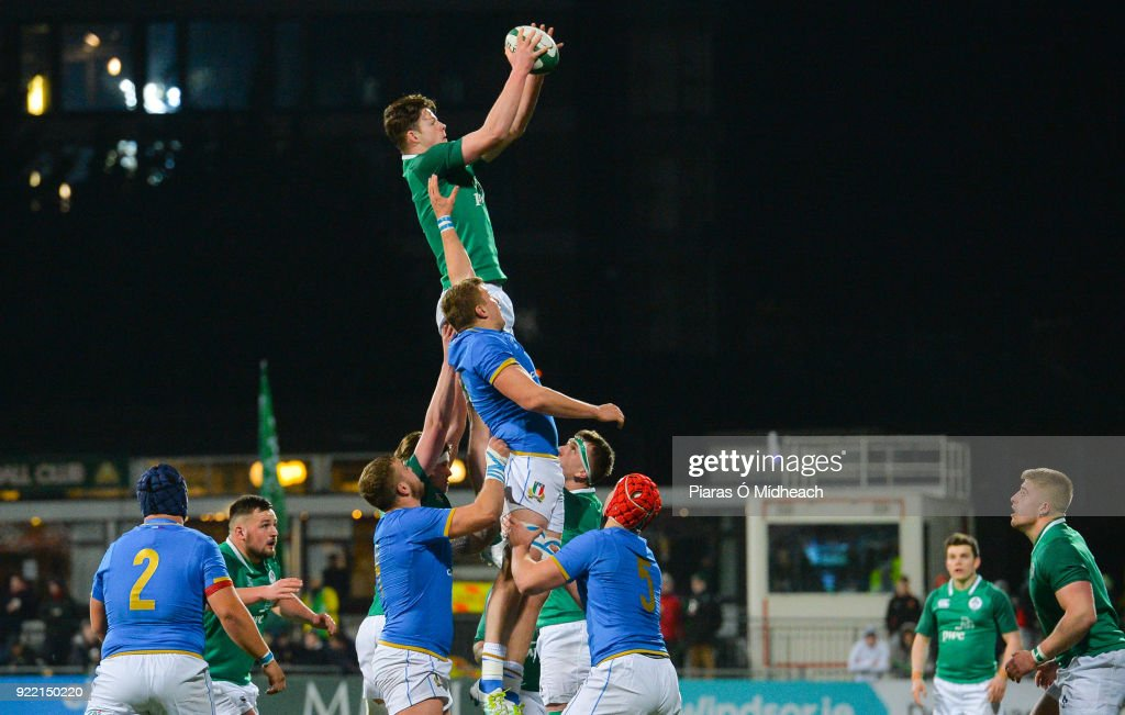 Dublin , Ireland - 9 February 2018; Jack Dunne of Ireland gathers possession in the line-out ahead of Lodovico Manni of Italy during the U20 Six Nations Rugby Championship match between Ireland and Italy at Donnybrook Stadium, in Dublin.