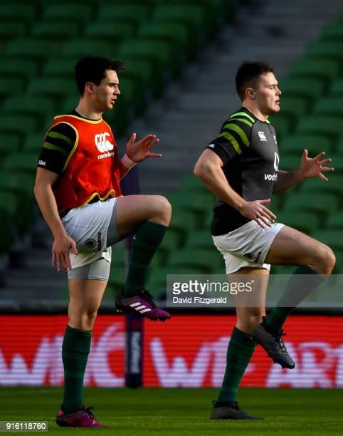 Dublin Ireland 9 February 2018 Joey Carbery left and Jacob Stockdale during the Ireland Rugby Captain's Run at the Aviva Stadium in Dublin