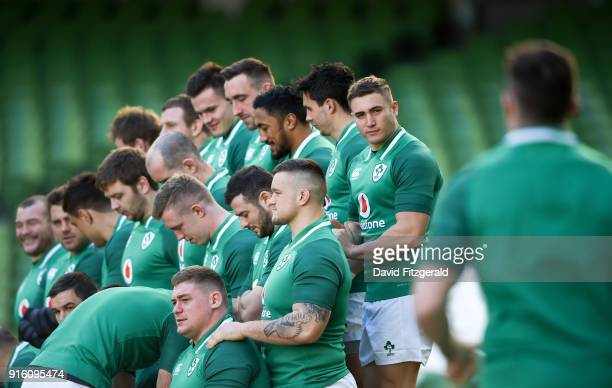 Dublin Ireland 9 February 2018 Jordan Larmour looks on as Peter O'Mahony makes his way over to the team photo prior to the Ireland Rugby Captain's...
