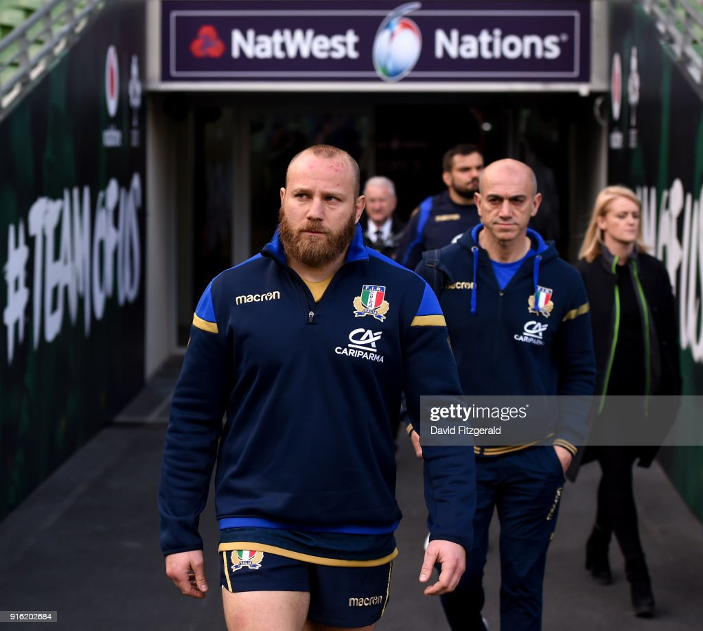 Dublin , Ireland - 9 February 2018; Leonardo Ghiraldini walks out prior to the Italy Rugby Captain's Run at the Aviva Stadium in Dublin.