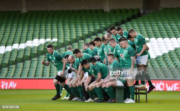 Dublin Ireland 9 February 2018 Peter O'Mahony breaks away from the team photo during the Ireland Rugby Captain's Run at the Aviva Stadium in Dublin