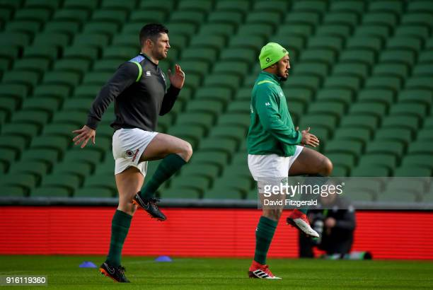 Dublin Ireland 9 February 2018 Rob Kearney left and Bundee Aki during the Ireland Rugby Captain's Run at the Aviva Stadium in Dublin