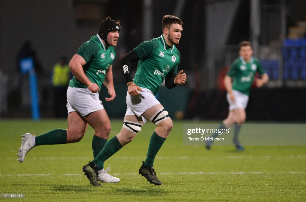 Dublin , Ireland - 9 February 2018; Tom O'Toole, left, and Ronan Foley of Ireland during the U20 Six Nations Rugby Championship match between Ireland and Italy at Donnybrook Stadium, in Dublin.