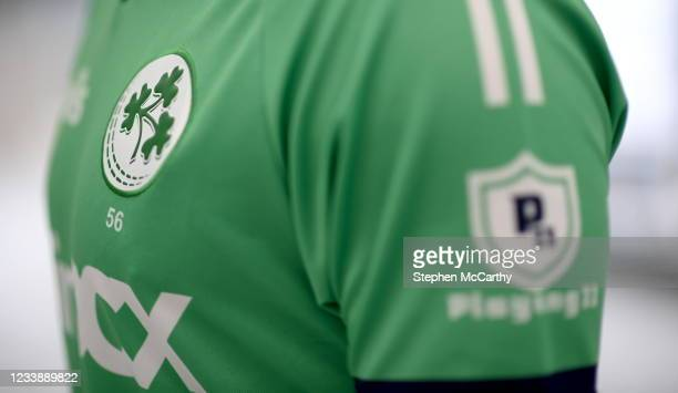 Dublin , Ireland - 9 July 2021; A detailed view of the jersey worn by Josh Little during a Cricket Ireland portrait session session at Malahide...