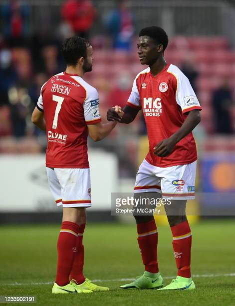 Dublin , Ireland - 9 July 2021; James Abankwah, right, and Robbie Benson of St Patrick's Athletic following the SSE Airtricity League Premier...
