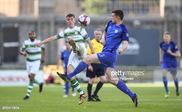 Dublin Ireland 9 June 2018 Brandon Kavanagh of Shamrock Rovers in action against Sean Heaney of Bray Wanderers during the SSE Airtricity League...
