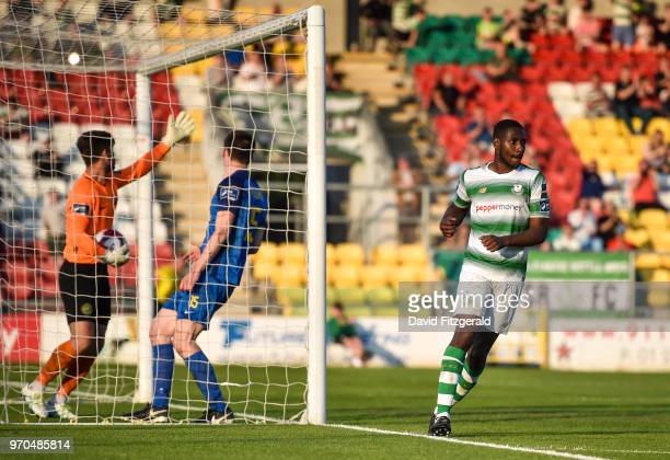 Dublin Ireland 9 June 2018 Dan Carr of Shamrock Rovers celebrates after scoring his side's fourth goal during the SSE Airtricity League Premier...