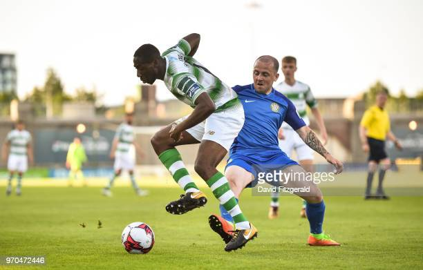 Dublin Ireland 9 June 2018 Dan Carr of Shamrock Rovers in action against Gary McCabe of Bray Wanderers during the SSE Airtricity League Premier...