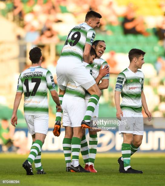 Dublin Ireland 9 June 2018 David McAllister of Shamrock Rovers is congratulated by team mates after scoring his side's fifth goal during the SSE...