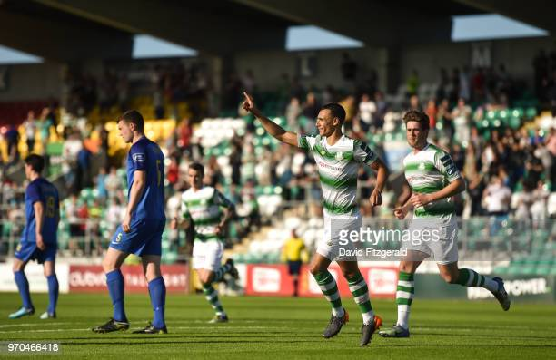 Dublin Ireland 9 June 2018 Graham Burke of Shamrock Rovers celebrates after scoring his side's first goal during the SSE Airtricity League Premier...