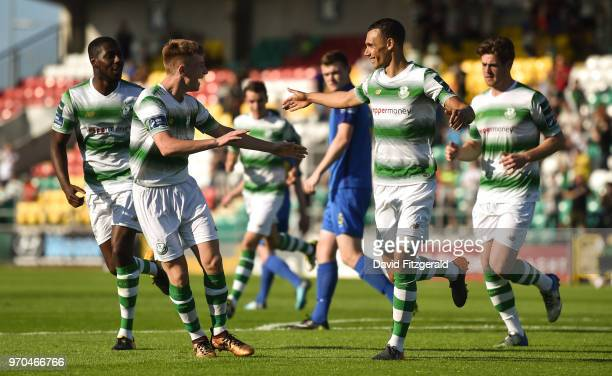 Dublin Ireland 9 June 2018 Graham Burke of Shamrock Rovers celebrates after scoring his side's first goal with team mate Brandon Kavanagh during the...