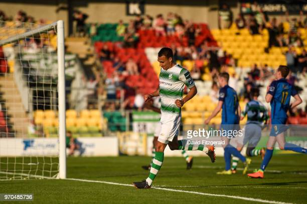 Dublin Ireland 9 June 2018 Graham Burke of Shamrock Rovers celebrates after scoring his side's third goal during the SSE Airtricity League Premier...