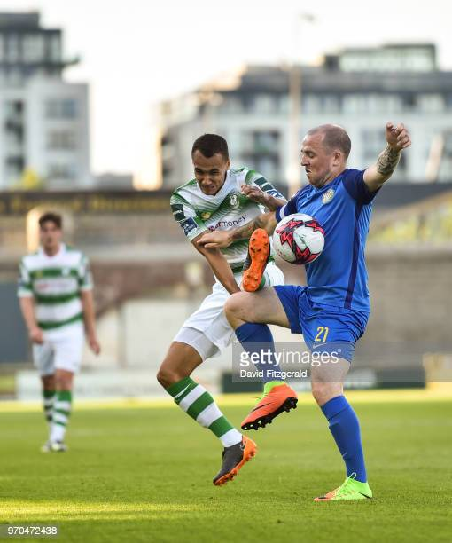 Dublin Ireland 9 June 2018 Graham Burke of Shamrock Rovers in action against Gary McCabe of Bray Wanderers during the SSE Airtricity League Premier...
