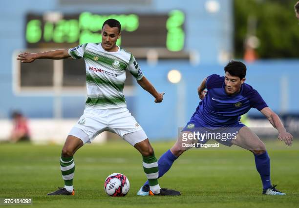 Dublin Ireland 9 June 2018 Graham Burke of Shamrock Rovers in action against Ronan Coughlan of Bray Wanderers during the SSE Airtricity League...