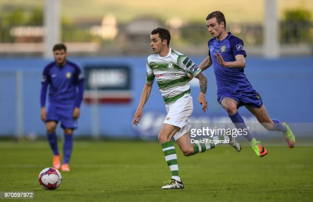 Dublin Ireland 9 June 2018 Justin Coustrain of Shamrock Rovers in action against Daniel Kelly of Bray Wanderers during the SSE Airtricity League...