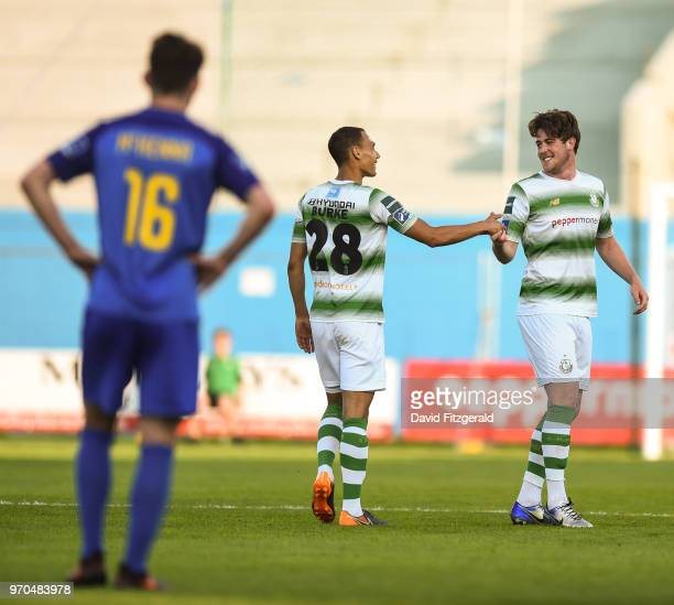 Dublin Ireland 9 June 2018 Sam Bone of Shamrock Rovers is congratulated by team mate Graham Burke after scoring his side's second goal during the SSE...