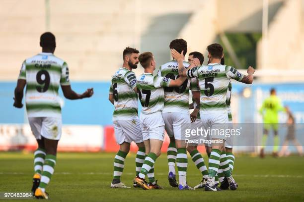 Dublin Ireland 9 June 2018 Sam Bone of Shamrock Rovers is congratulated by team mates after scoring his side's second goal during the SSE Airtricity...