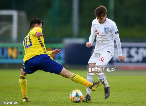 Dublin Ireland 9 May 2019 Ben Knight of England in action against William Milovanovic of Sweden during the 2019 UEFA European Under17 Championships...
