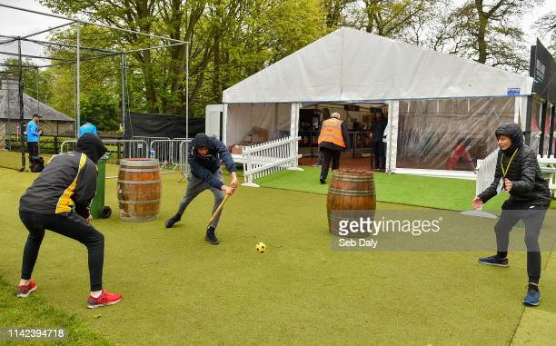 Dublin , Ireland - 9 May 2019; Groundstaff start impromptu match whilst waiting for play during the One Day International match between Ireland and...