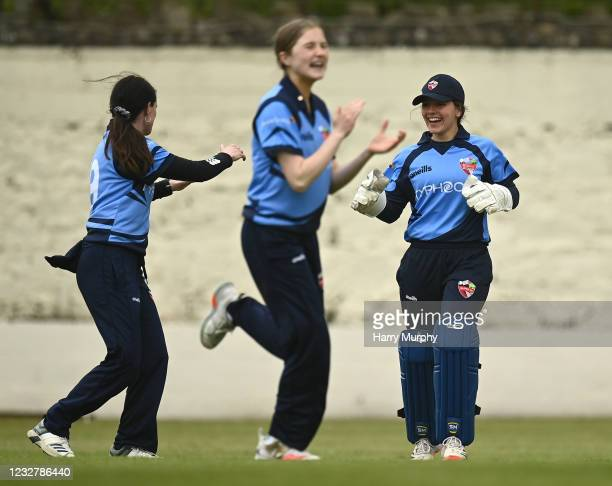 Dublin , Ireland - 9 May 2021; Amy Hunter of Typhoons, right, celebrates the wicket of Gaby Lewis of Scorchers during the third match of the Arachas...
