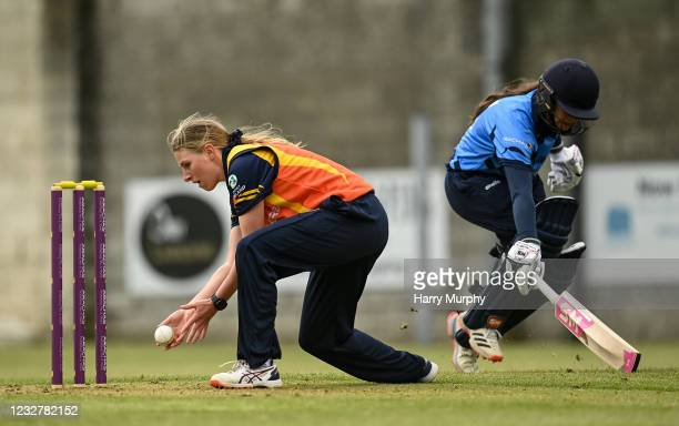 Dublin , Ireland - 9 May 2021; Ashlee King of Scorchers attempts to run out Amy Hunter of Typhoons during the third match of the Arachas Super 50 Cup...