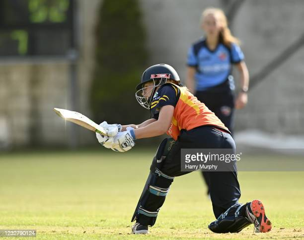 Dublin , Ireland - 9 May 2021; Ashlee King of Scorchers bats during the third match of the Arachas Super 50 Cup between Scorchers and Typhoons at...