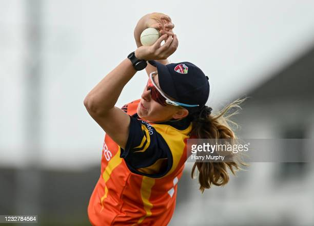 Dublin , Ireland - 9 May 2021; Ashlee King of Scorchers catches out Jane Maguire of Typhoons during the third match of the Arachas Super 50 Cup...