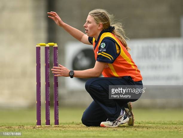 Dublin , Ireland - 9 May 2021; Ashlee King of Scorchers reacts to an attempted run out during the third match of the Arachas Super 50 Cup between...