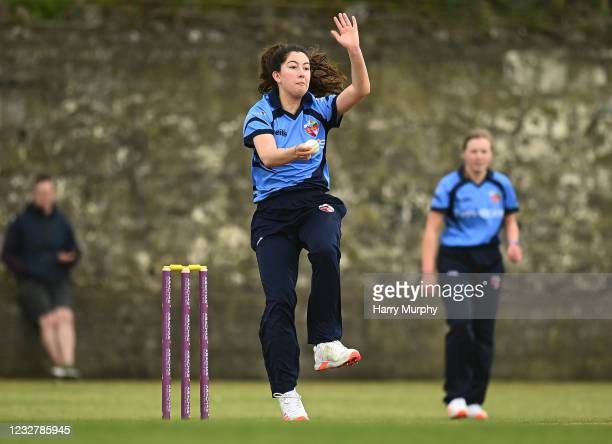 Dublin , Ireland - 9 May 2021; Ava Canning of Typhoons bowls during the third match of the Arachas Super 50 Cup between Scorchers and Typhoons at...