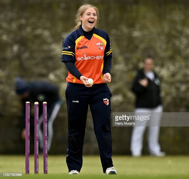 Dublin , Ireland - 9 May 2021; Cara Murray of Scorchers celebrates running out Amy Hunter of Typhoons during the third match of the Arachas Super 50...