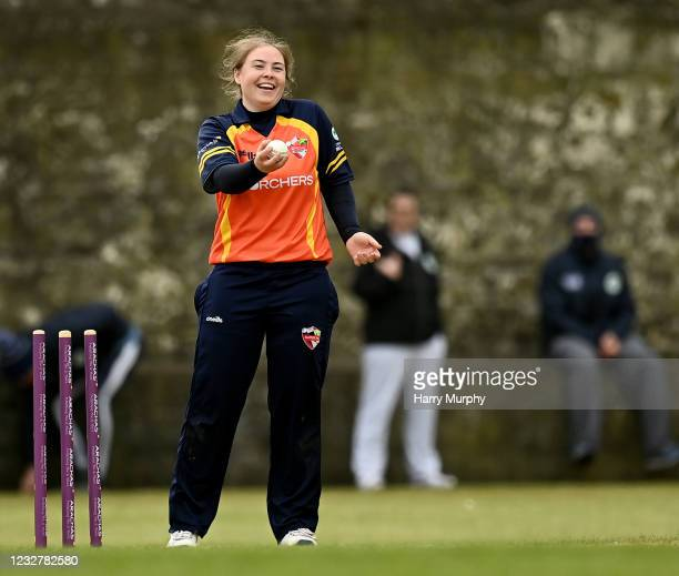 Dublin , Ireland - 9 May 2021; Cara Murray of Scorchers reacts to running out Amy Hunter of Typhoons during the third match of the Arachas Super 50...