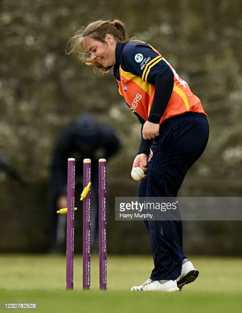 Dublin , Ireland - 9 May 2021; Cara Murray of Scorchers runs out Amy Hunter of Typhoons during the third match of the Arachas Super 50 Cup between...