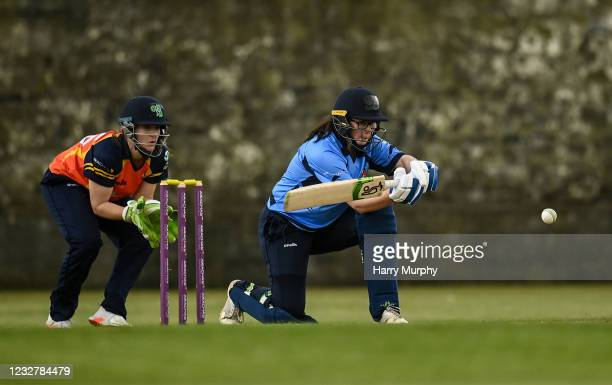 Dublin , Ireland - 9 May 2021; Jane Maguire of Typhoons bats during the third match of the Arachas Super 50 Cup between Scorchers and Typhoons at...
