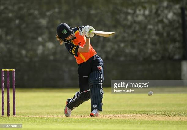 Dublin , Ireland - 9 May 2021; Lara Maritz of Scorchers hits a four during the third match of the Arachas Super 50 Cup between Scorchers and Typhoons...