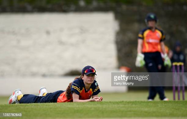 Dublin , Ireland - 9 May 2021; Lara Maritz of Scorchers watches the ball reach the boundary during the third match of the Arachas Super 50 Cup...