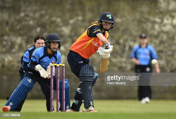 Dublin , Ireland - 9 May 2021; Leah Paul of Scorchers bats during the third match of the Arachas Super 50 Cup between Scorchers and Typhoons at Rush...