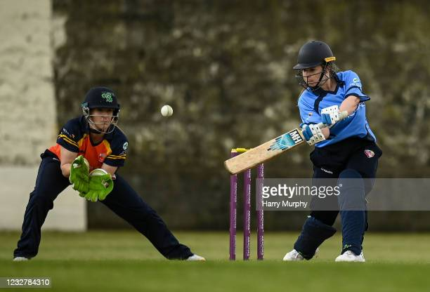Dublin , Ireland - 9 May 2021; Maria Kerrison of Typhoons bats during the third match of the Arachas Super 50 Cup between Scorchers and Typhoons at...