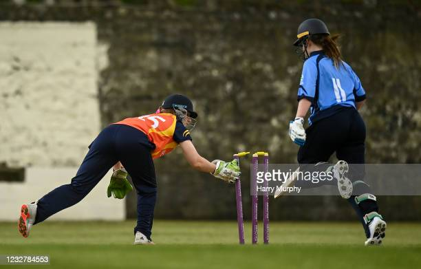 Dublin , Ireland - 9 May 2021; Maria Kerrison of Typhoons is ran out by Shauna Kavanagh of Scorchers during the third match of the Arachas Super 50...