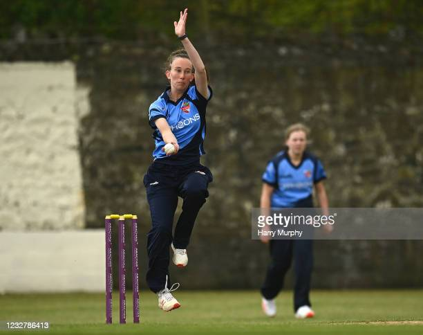 Dublin , Ireland - 9 May 2021; Orla Prendergast of Typhoons bowls during the third match of the Arachas Super 50 Cup between Scorchers and Typhoons...