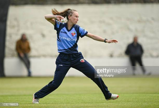 Dublin , Ireland - 9 May 2021; Orla Prendergast of Typhoons during the third match of the Arachas Super 50 Cup between Scorchers and Typhoons at Rush...