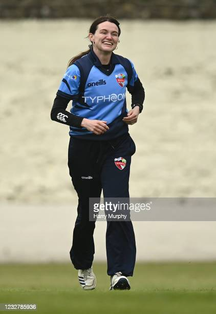 Dublin , Ireland - 9 May 2021; Rachel Delaney of Typhoons celebrates the wicket of Gaby Lewis of Scorchers during the third match of the Arachas...