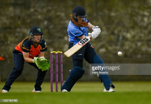 Dublin , Ireland - 9 May 2021; Rebecca Gough of Typhoons bats during the third match of the Arachas Super 50 Cup between Scorchers and Typhoons at...